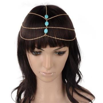 Acessório De Cabelo Head Chain Headband Turquesa