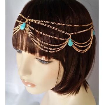 Acessório De Cabelo Head Chain Headband Turquesa Camadas