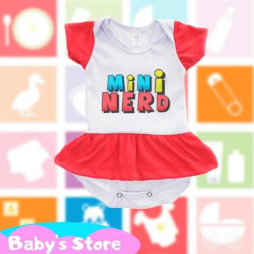 Body vestido infantil com frase Mini nerd