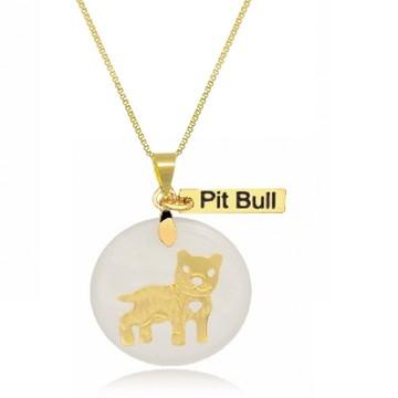 Corrente com Pingente Pet de Pit Bull Banhado a Ouro
