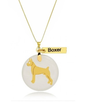 Corrente com Pingente Pet de Boxer Banhado a Ouro