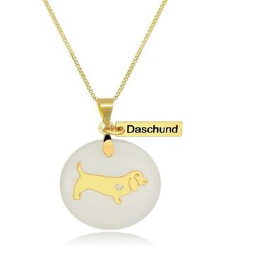 Corrente com Pingente Pet de Daschund Banhado a Ouro