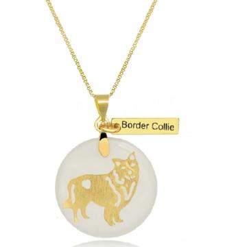 Corrente com Pingente Pet de Border Collie Banhado a Ouro