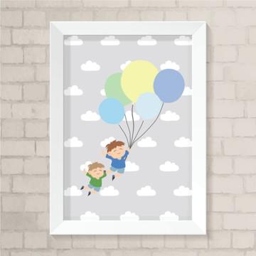 Quadro - Meninos Com Balões