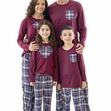 Pijamas Kit Família Pijamas Xadrez Longo - Kit com 3 Pijamas