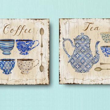 Kit 2 Quadros Decorativos 40x40 Café & Chá