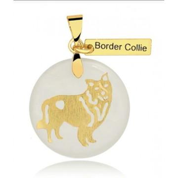 Pingente de Raça Border Collie Banhado a Ouro