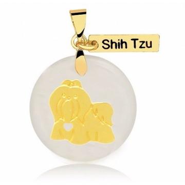 Pingente de Raça Shin Tzu Banhado a Ouro
