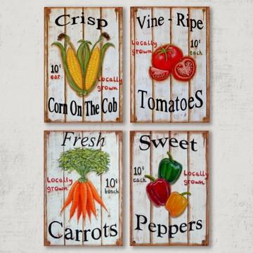 4 Quadros Decorativos Legumes Frescos