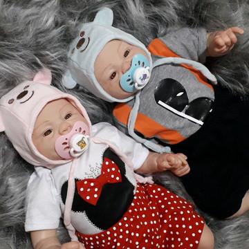 Bebê Reborn Gêmeos Carequinha Menino e Menina
