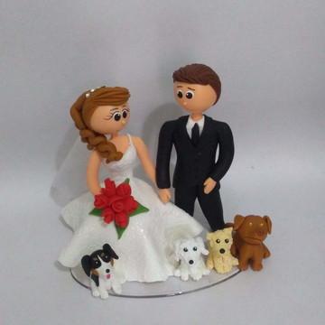 topo de bolo casamento com cachorros