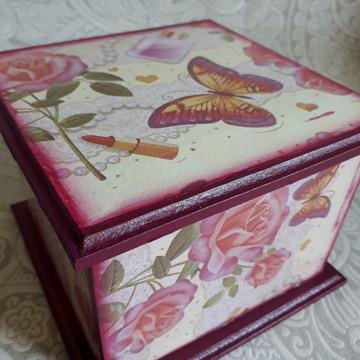 Porta batons- Rosas e Borboletas