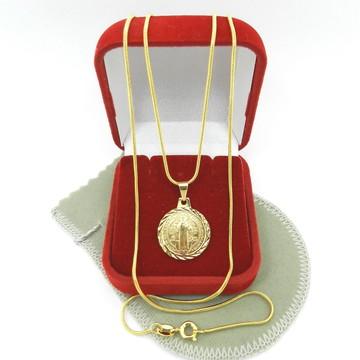 Corrente Masculina 60cm 1mm + São Bento Folheado Ouro CR212D