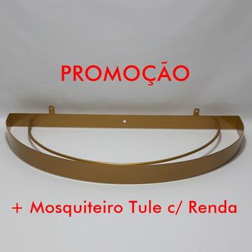 Dossel Arco Largo Dourado com Mosquiteiro Tule c/Renda