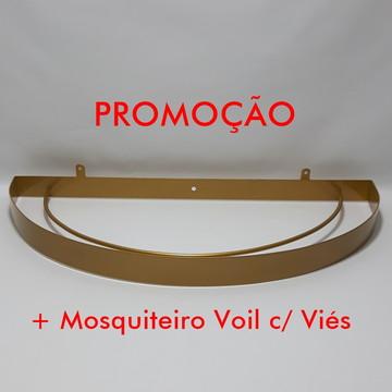 Dossel Arco Largo Dourado + Mosquiteiro Voil c/ Viés