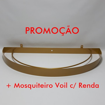 Dossel Arco Largo Dourado + Mosquiteiro Voil c/ Renda