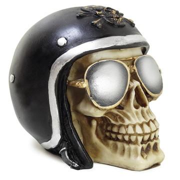 Crânio Esqueleto Caveira Resina Capacete Aviador Óculos Sol