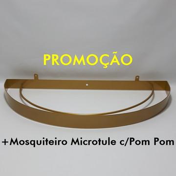 Dossel Arco Meia Lua Dourado+Mosquiteiro Microtule c/Pom Pom