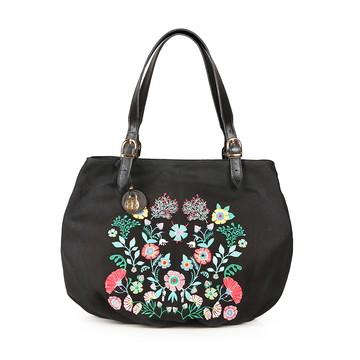 Bolsa Shop Bordada Floral Preta