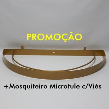 Dossel Arco Meia Lua Dourado c/ Mosquiteiro Microtule c/Viés