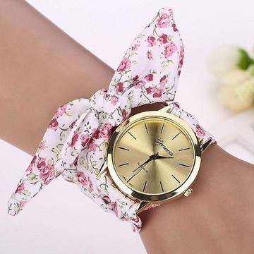 Relogio Geneva Platinium Montre Bracelet Tissu A Nouer