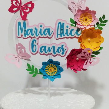 Topo de Bolo Guirlanda (Flores)