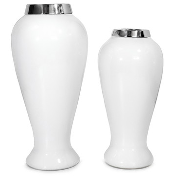 Vasos Decorativos de Cerâmica Off White Gelo (Dupla)