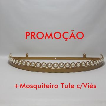 Dossel Meia Lua Luxo c/Pérolas Dourado+Mosquiteiro Tule Viés