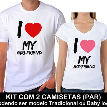 Kit Camiseta Branca Casal Namorados Boyfriend Girlfriend 11
