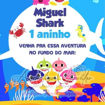 convite arte digital (virtual) tema BABY SHARK