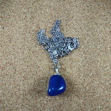 Colar Pedra Ágata azul Natural