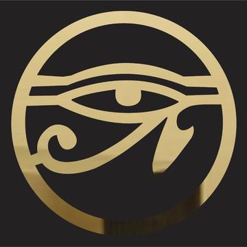 Mandala Olho de Hórus - acrílico espelhado dourado - 45 cm