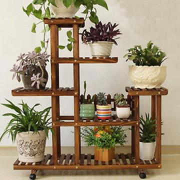 Floreira de chão com rodízios/ suporte para plantas/ jardim