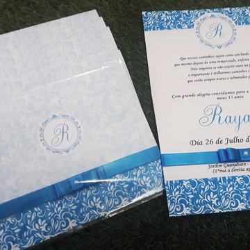 Convite 15 Anos Azul Turquesa Personalizado, Textura Floral