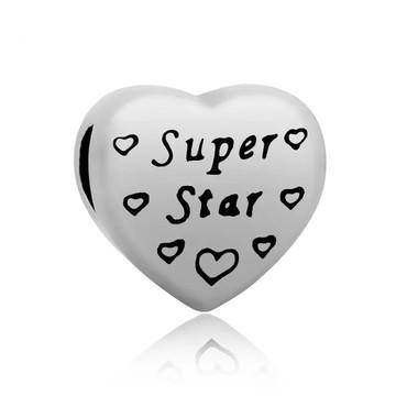 Berloque de Aço inox Coração SUPER STAR