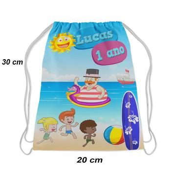 Mochilinha aniversario festa bita praia e as crianças