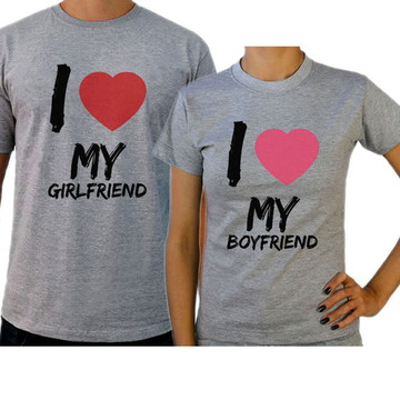 Kit Camiseta Cinza Casal Namorados Boyfriend Girlfriend 10