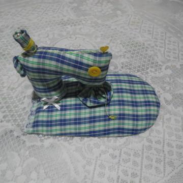 Porta alfinete mini máquina de costura Azul
