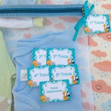 Saquinho Maternidade C/ Zíper Azul Turquesa *Promoção* + Tag