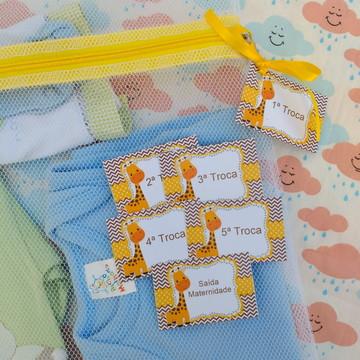 Saquinho Maternidade C/ Zíper Amarelo **Promoção** + Tag