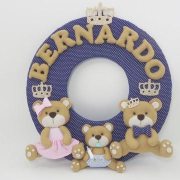 Enfeite de Porta Maternidade Familia Urso
