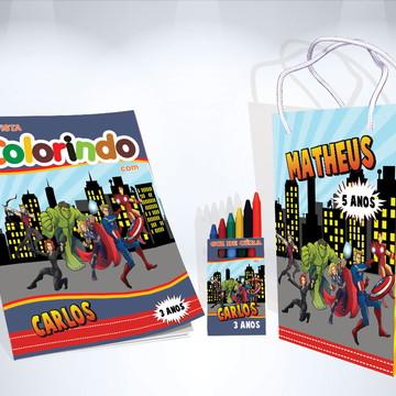 Kit de Colorir Vingadores Lembrança + Brindes