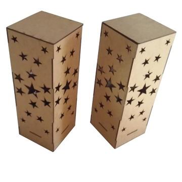 Luminária Provençal Estrelas em MDF Cru De Mesa 110-220