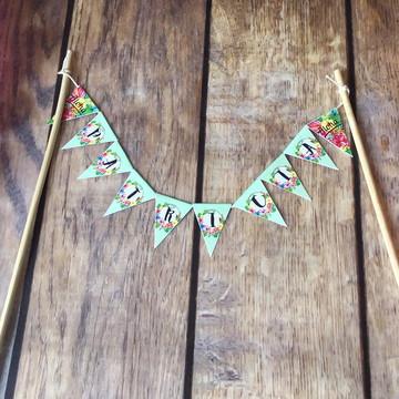 ALOHA Topo de Bolo Bandeirolas CHIC Hawaii