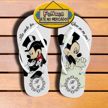 Chinelo Tema Casamento! Sandália Brinde Mickey e Minnie