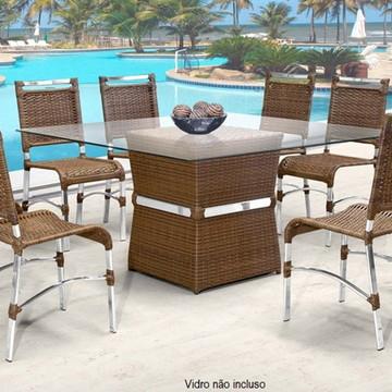 Conj. de Mesa e 6 Cadeiras para Sala de Jantar Àrea Gourmet