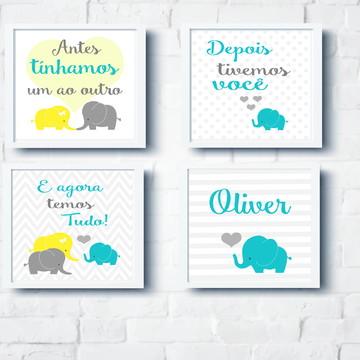 Quadros Decoração Bebê Família Elefantes