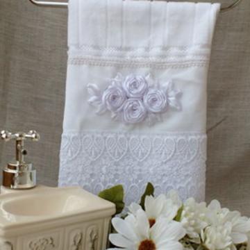 Toalha lavabo em fita branca