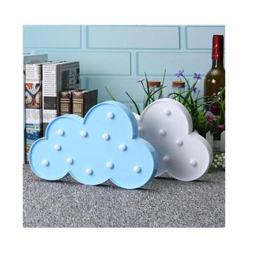 Luminaria Abajur Nuvem Branca 3d Pilha Led Festa Decora Azul