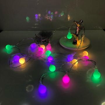 Luminária Cordão Luz Led 20 Bolinhas 1,5cm Varal 2m Colorido